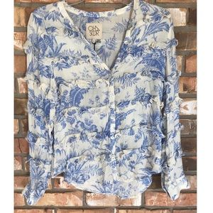 CHASER Vintage Ruffled Long Sleeve Top       Small
